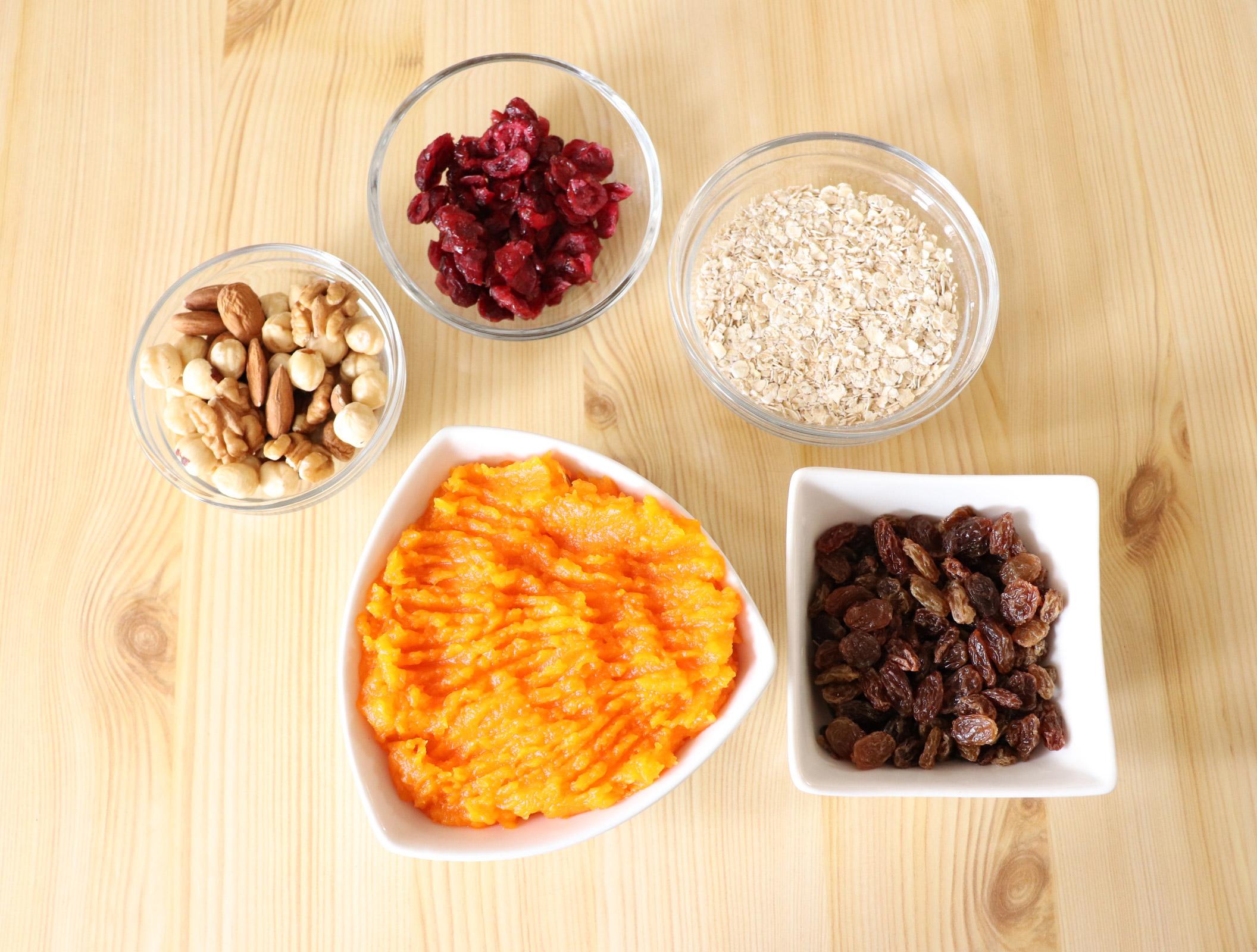 Simple ingredients for making healthy recipe using pumpkin puree