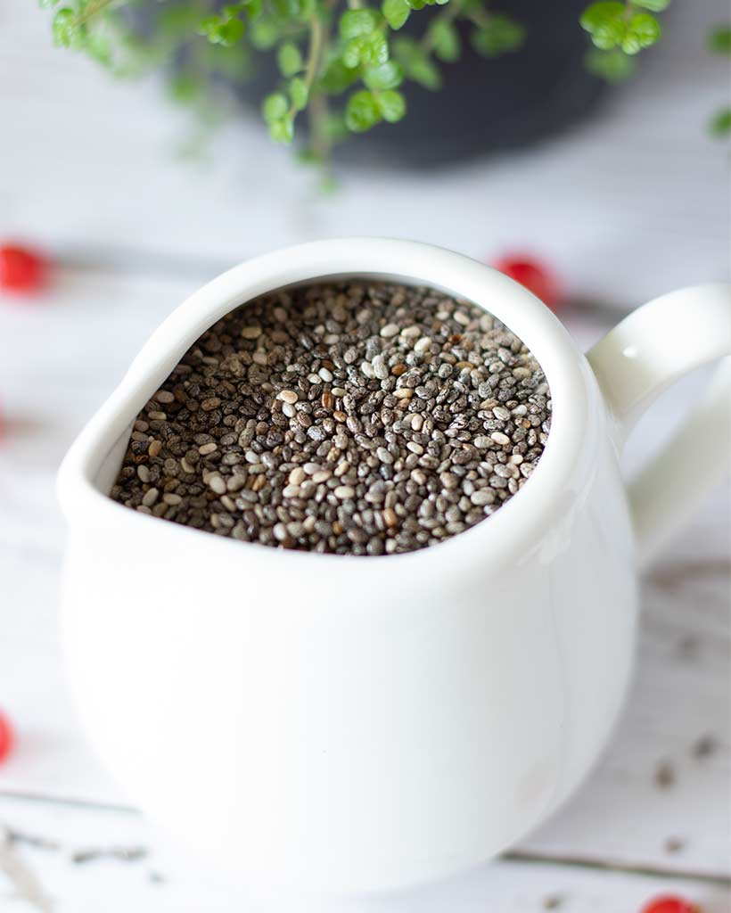 Healthy chia seeds for making chocolate pudding or dessert