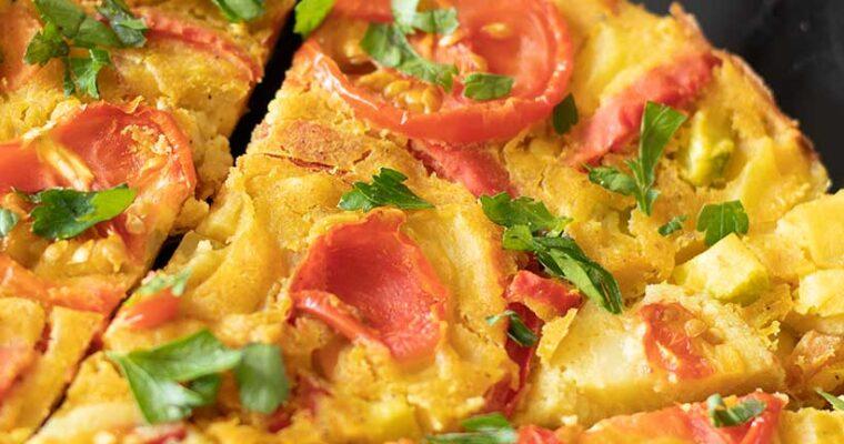 Vegan Frittata with Chickpea Flour (No eggs, No tofu)