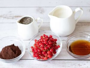 Wholesome ingredients for healthy chia pudding recipe