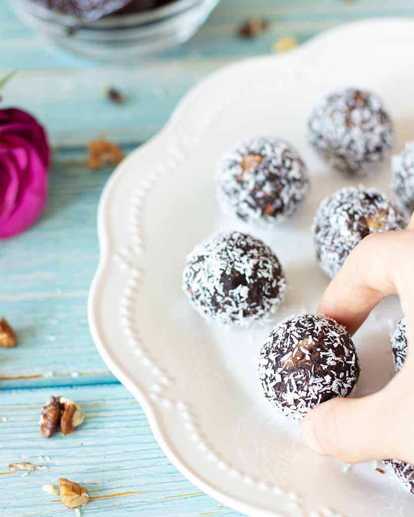 Gluten-free coconut date balls with walnuts