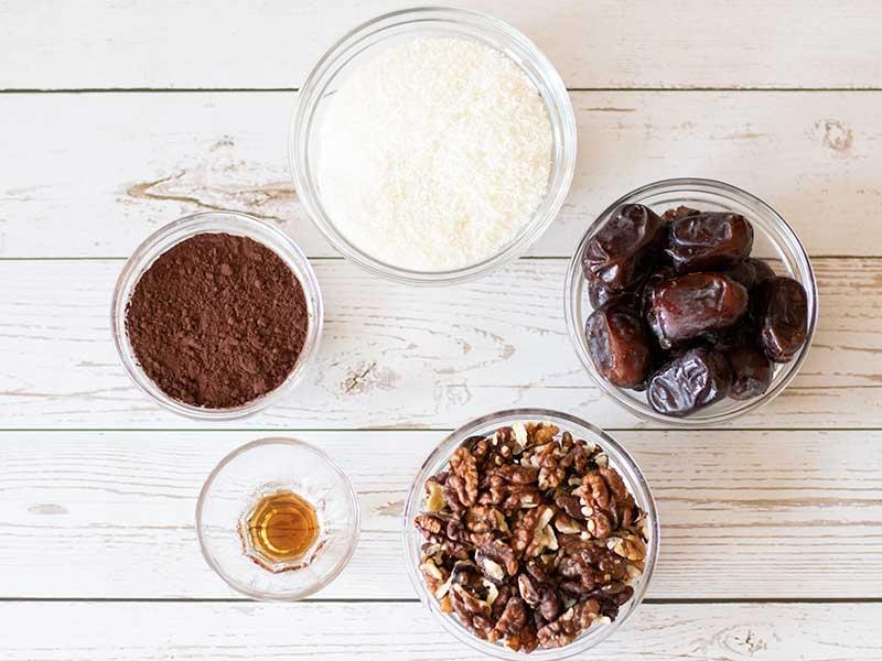 Simple plant-based 5 ingredients for making vegan dessert or snack