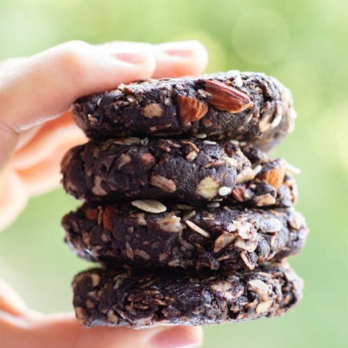 Chocolate vegan no bake tahini cookies (gluten free)