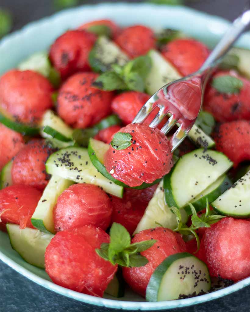 Best recipe for watermelon cucumber salad with fresh min for healthy snack or dessert