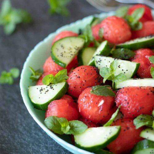 Minty watermelon cucumber salad bowl