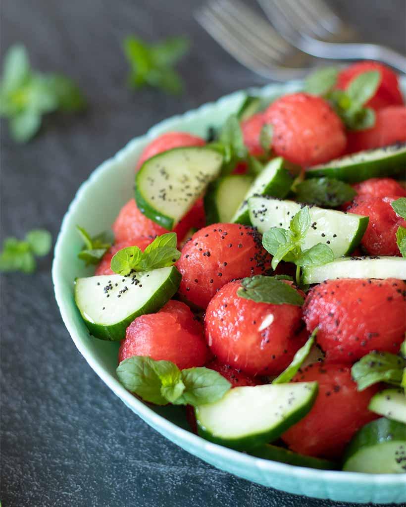 Mediterranean Minty Watermelon Cucumber Salad
