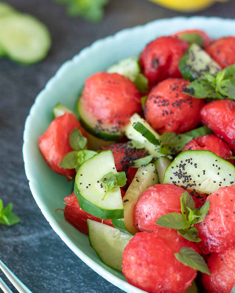 Kid-friendly summer salad recipe with fresh watermelon, mint and cucumber