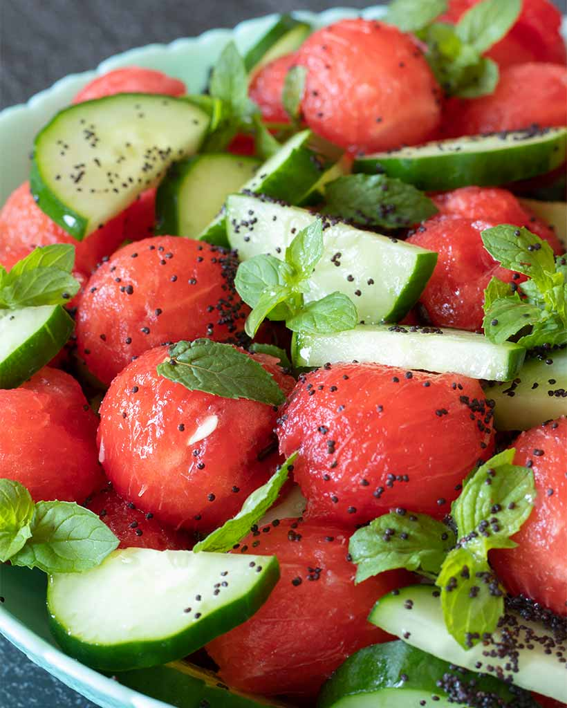Plant-based minty watermelon cucumber salad (low calorie for weight loss diet)