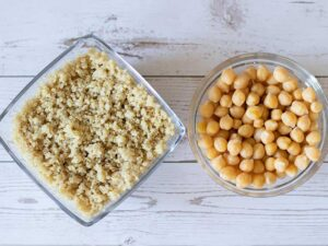 Cooked quinoa and chickpeas (garbanzo beans)