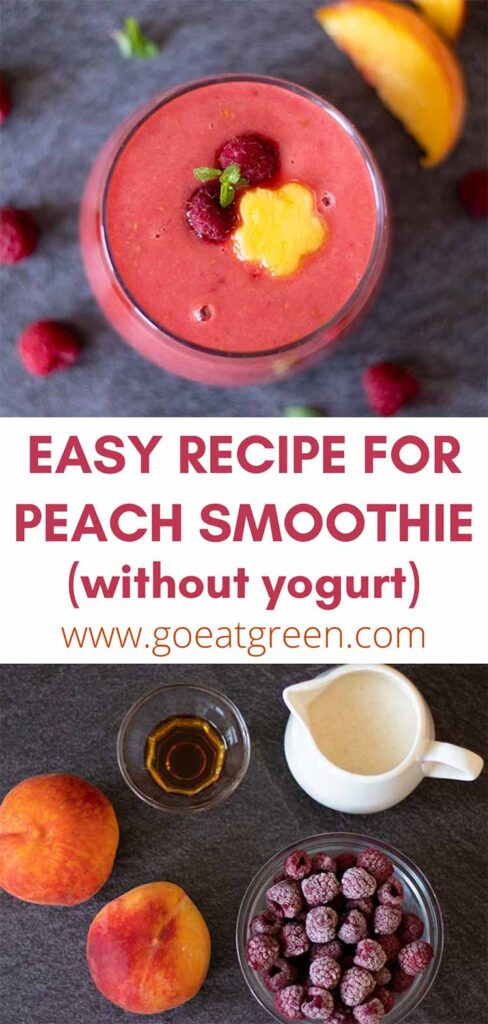 Weight-loss friendly recipe for peach smoothie, no yogurt, no banana.
