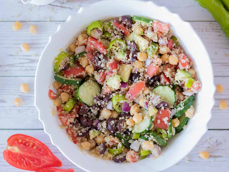 Easy vegan Mediterranean quinoa salad recipe for kids and whole family