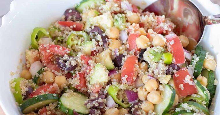 Vegan Mediterranean Salad (Healthy High-Protein Meal)