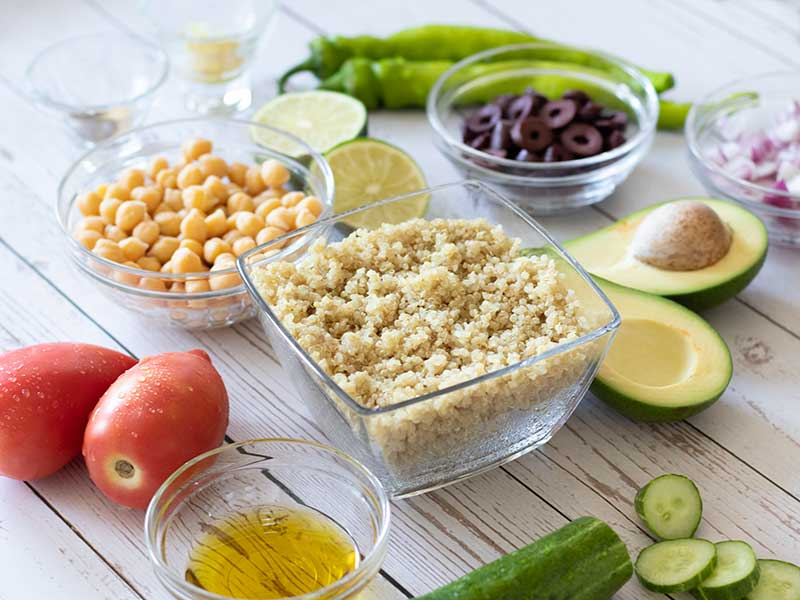 Plant-based, wholesome, raw ingredients for preparing easy side dish or appetizer.