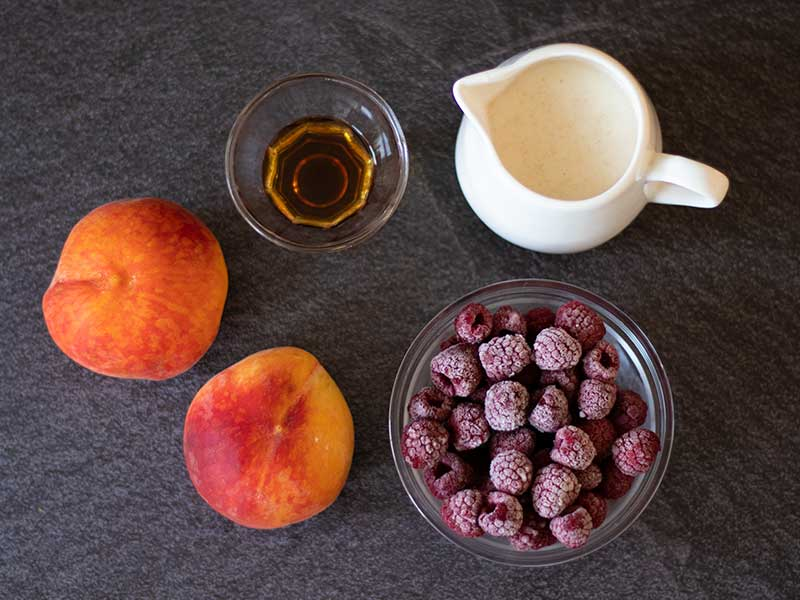 Simple, plant-based, wholesome ingredients for vegan-friendly smoothie without banana or dairy.