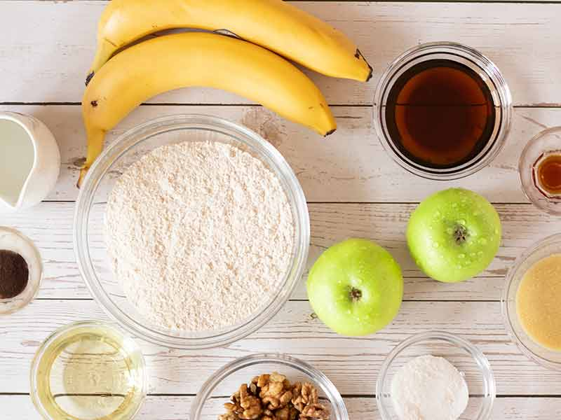Simple, wholesome ingredients for baking breakfast cake. Refined-sugar free and dairy-free fall dessert.