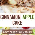 Cinnamon apple cake with walnuts. Healthy vegan dessert or breakfast idea. Vegan-friendly sweet treat.