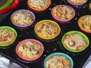 Freshly baked veggie frittata muffins for breakfast, brunch or dinner.