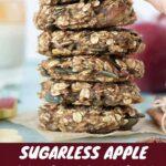 A stack of healthy vegan apple breakfast cookies on a plate.