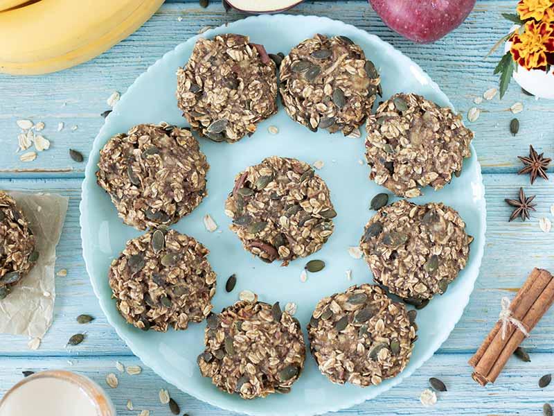 Easy vegan apple oatmeal breakfast cookies in a plate.