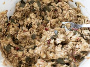 Homemade plant-based and sugar free batter for baking easy breakfast oatmeal cookies.